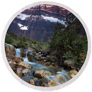 Stream And Mt. Edith Cavell At Sunset Round Beach Towel