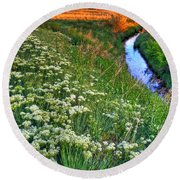 Stream And Sunset Round Beach Towel