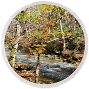Stream In An Autumn Woods Round Beach Towel