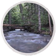 Stream In The Forest Round Beach Towel