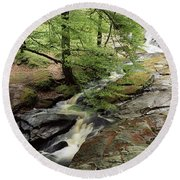 Stream In The Irish Countryside Round Beach Towel