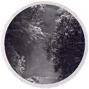 Stream Light B W Round Beach Towel