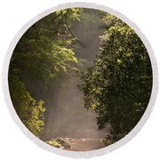 Stream Light Round Beach Towel by Steve Gadomski