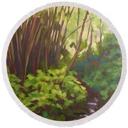 Stream Near Akaka Falls Round Beach Towel