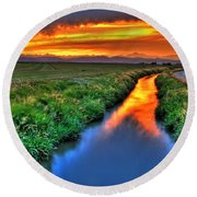 Stream Of Light Round Beach Towel