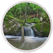 Stream Waterfall Round Beach Towel