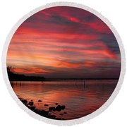 Streaming Sunset Round Beach Towel