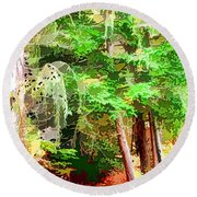 Streams In A Wood Covered With Leaves Round Beach Towel