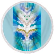 Streams Of Light In Turquoise Round Beach Towel