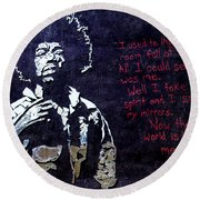 Street Art - Jimmy Hendrix Round Beach Towel