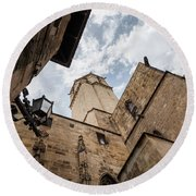 Street Behind The Barcelona Cathedral In Spain. Round Beach Towel