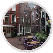 Street Cafe Mooy In Amsterdam Round Beach Towel