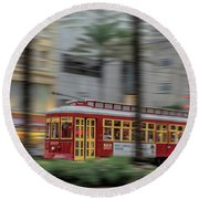 Street Car Flying Down Canal Round Beach Towel