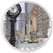 Street Clock On 5th Avenue Handmade Sketch Round Beach Towel