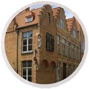 Street Corner In Bruges Belgium Round Beach Towel