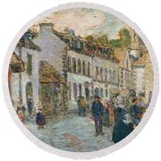 Street In Pont Aven Round Beach Towel by Childe Hassam