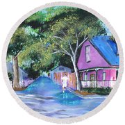 Street In St Augustine Round Beach Towel