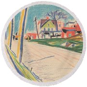 Street In The Bronx Round Beach Towel