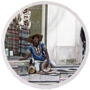 Street Music, Lisboa Round Beach Towel by Lorraine Devon Wilke