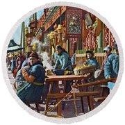 Street Life Of Peking, 1921 Round Beach Towel