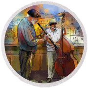 Street Musicians In Prague In The Czech Republic 01 Round Beach Towel