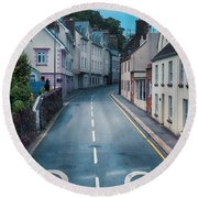 Street Of Summer Countryside Round Beach Towel by Ariadna De Raadt