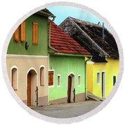 Street Of Wine Cellar Houses  Round Beach Towel