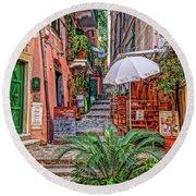 Street Scene Monterosso Italy Dsc02470 Round Beach Towel