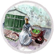 Street Seller In Helsingor Round Beach Towel