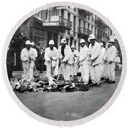 Street Sweepers, 1911 Round Beach Towel