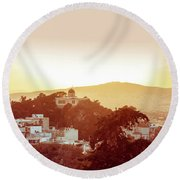 Street View Of Old Buildings In Athens, Greece Round Beach Towel