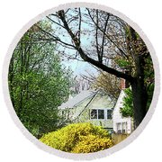 Street With Forsythia Round Beach Towel