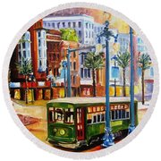 Streetcar On Canal Street Round Beach Towel