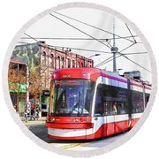 Streetcar On Spadina Avenue #17 Round Beach Towel