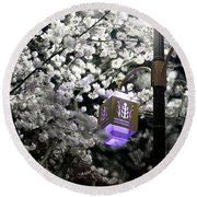 Streetlights In Blossoms Round Beach Towel