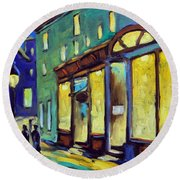 Streets At Night Round Beach Towel