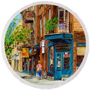 Streets Of Montreal Over 500 Prints Available By Montreal Cityscene Specialist Carole Spandau Round Beach Towel