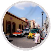 Streets Of Oaxaca Mexico 1 Round Beach Towel