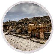Streets Of Pompeii - 1a Round Beach Towel