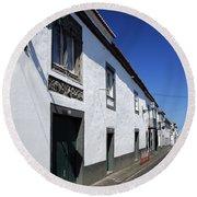 Streets Of Ribeira Grande Round Beach Towel