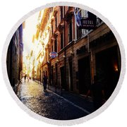 Streets Of Rome 2 Round Beach Towel