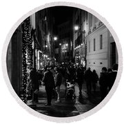 Streets Of Rome At Night  Round Beach Towel