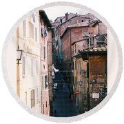 Streets Of Siena Photograph Round Beach Towel