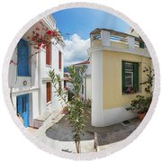 Streets Of Skopelos Round Beach Towel