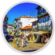 Streets Of Valenca Round Beach Towel