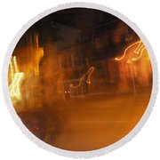 Streets On Fire Round Beach Towel
