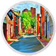 Streetscape In Federal Hill Round Beach Towel by Stephen Younts