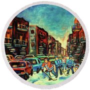 Streetscenes Of Montreal Hockey Paintings By Montreal Cityscene Specialist Carole Spandau Round Beach Towel