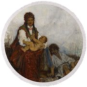 Streitt, Franciszek 1839 Brody - 1890  Rest On The Field. 1875. Round Beach Towel