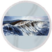 Striding Edge Leading To Helvellin Sumit  Round Beach Towel